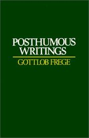 Cover of: Posthumous writings | Gottlob Frege