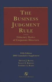 Cover of: Business Judgement Rule Supplement by Aspen Publishers