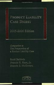 Cover of: Product Liability Case Digest by Hare, McGovern Baldwin