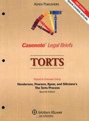 Cover of: Casenote Legal Briefs Torts | Casenotes