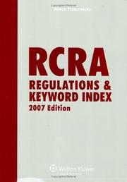 Cover of: RCRA Regulations and Keyword Index by Aspen Publishers