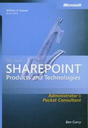 Cover of: Microsoft  SharePoint  Products and Technologies Administrator's Pocket Consultant by Ben Curry