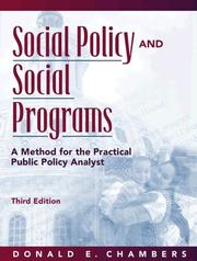 Cover of: Social policy and social programs by Donald E. Chambers
