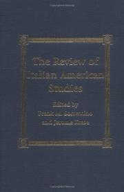 Cover of: The review of Italian-American studies | Frank M. Sorrentino, Jerome Krase