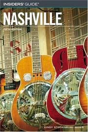 Cover of: Insiders' Guide to Nashville, 5th | Cindy Stooksbury Guier