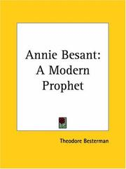 Cover of: Annie Besant | Theodore Besterman