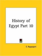 Cover of: History of Egypt, Part 10 | S. Rappoport