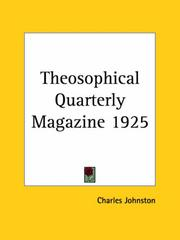Cover of: Theosophical Quarterly Magazine 1925 | Charles Johnston