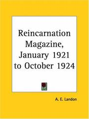 Cover of: Reincarnation Magazine, January 1921 to October 1924 by A. E. Landon