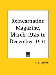 Cover of: Reincarnation Magazine, March 1925 to December 1931 | A. E. Landon