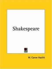 Cover of: Shakespeare | W. Carew Hazlitt