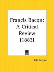 Cover of: Francis Bacon | B. G. Lovejoy