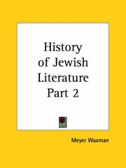 Cover of: History of Jewish Literature, Part 2 | Meyer Waxman