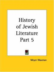Cover of: History of Jewish Literature, Part 5 | Meyer Waxman
