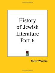 Cover of: History of Jewish Literature, Part 6 | Meyer Waxman