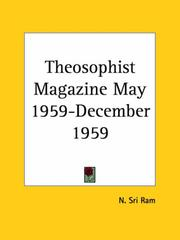Cover of: Theosophist Magazine May 1959-December 1959 by Sri Ram, N.