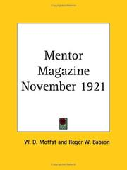 Cover of: Mentor Magazine November 1921 | Roger W. Babson