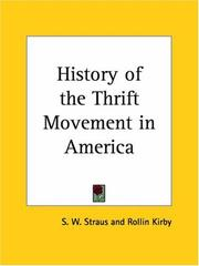 Cover of: History of the Thrift Movement in America | S. W. Straus