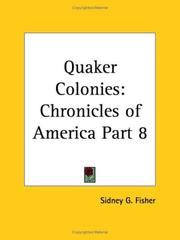 Cover of: Quaker Colonies by Sidney G. Fisher