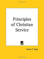 Cover of: Principles of Christian Service | Henry F. Cope