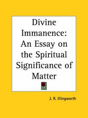 Cover of: Divine Immanence | J. R. Illingworth