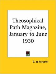 Cover of: Theosophical Path Magazine, January to June 1930 | G. De Purucker