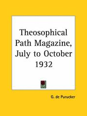 Cover of: Theosophical Path Magazine, July to October 1932 | G. De Purucker