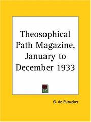 Cover of: Theosophical Path Magazine, January to December 1933 | G. De Purucker