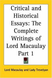 Cover of: Critical and Historical Essays, Part 1 (The Complete Writings of Lord Macaulay) by Thomas Babington Macaulay