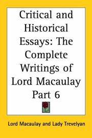 Cover of: Critical and Historical Essays, Part 6 (The Complete Writings of Lord Macaulay) | Thomas Babington Macaulay