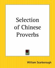 Cover of: Selection Of Chinese Proverbs | William Scarborough