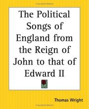 Cover of: The Political Songs Of England From The Reign Of John To That Of Edward Ii | Thomas Wright