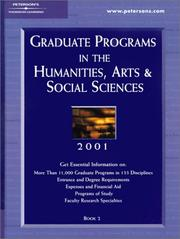 Cover of: Peterson's Graduate Programs in the Humanities, Arts & Social Sciences 2001 | Peterson's