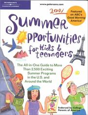Cover of: Peterson's Summer Opportunities for Kids and Teenagers 2001 (Summer Opportunities for Kids and Teenagers, 2001) by Peterson's