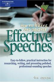 Cover of: How to Write & Deliver an Effective Speech (Step By Step (Thomson Learning (Firm)).) | Judith MacManus