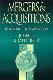 Cover of: Mergers & acquisitions | Joseph C. Krallinger