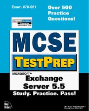 Cover of: McSe Testprep Exchange Server 5.5 (Mcse Testprep Series) by Glen Martin
