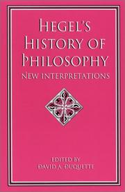 Cover of: Hegel's History of Philosophy by David A. Duquette