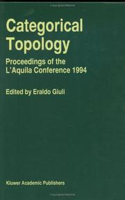 Cover of: Categorical topology |