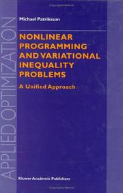 Cover of: Nonlinear programming and variational inequality problems by Michael Patriksson