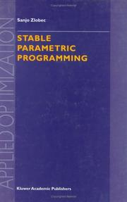 Cover of: Stable Parametric Programming (Applied Optimization) | S. Zlobec