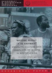 Cover of: Whose right it is anyway? by Kristina A. Bentley