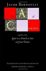 "Cover of: The art of conjecturing, together with ""Letter to a friend on sets in court tennis"" by Jakob Bernoulli"