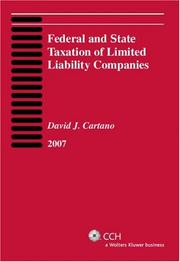 Cover of: Federal and State Taxation of Limited Liability Companies (2007) by David J. Cartano