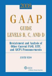 Cover of: GAAP Guide Levels B, C, and D (2008) (Gaap Guide. Levels B, C and D) | Judith Weiss
