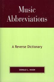 Cover of: Music Abbreviations | Donald L. Hixon