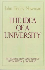 Cover of: The idea of a university | John Henry Newman