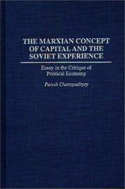 Cover of: The Marxian concept of capital and the Soviet experience | Paresh Chattopadhyay