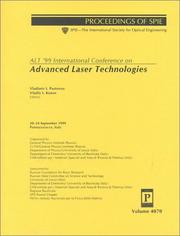 Cover of: ALT '99 International Conference on Advanced Laser Technologies | International Conference on Advanced Laser Technologies (8th 1999 Potenza, Italy, and Lecce, Italy)