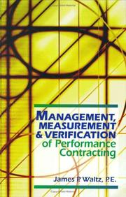 Cover of: Management, Measurement & Verification of Performance Contracting | James P. Waltz